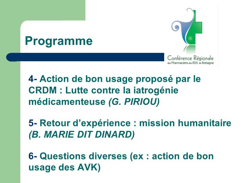Programme 4- Action de bon usage proposé par le CRDM : Lutte contre la iatrogénie médicamenteuse (G. PIRIOU) 5- Retour dexpérience : mission humanitai