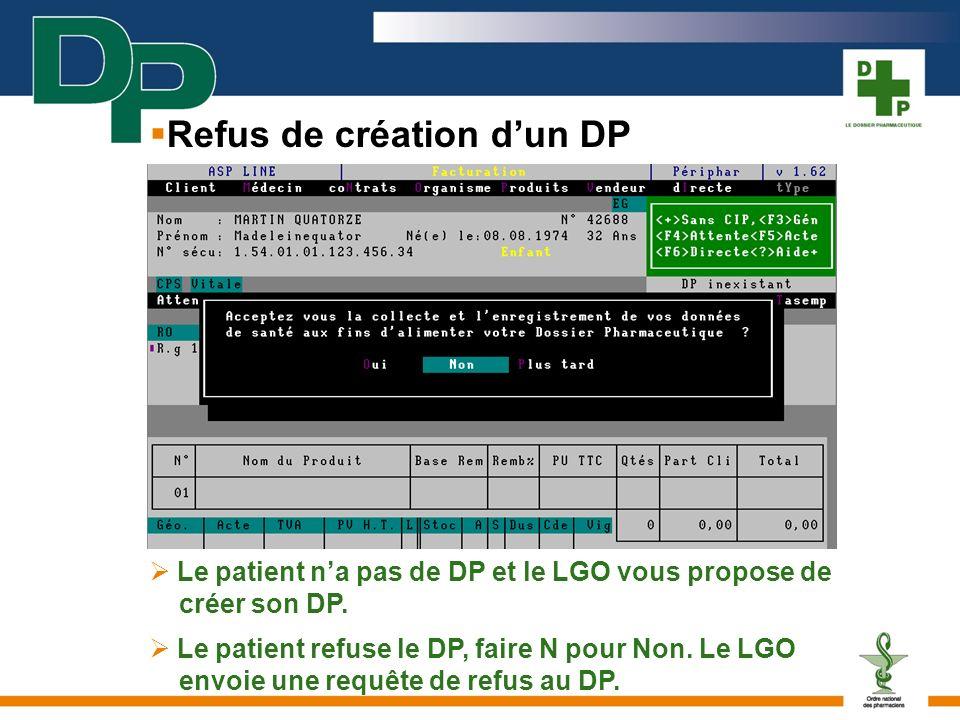 Le patient na pas de DP et le LGO vous propose de créer son DP. Le patient refuse le DP, faire N pour Non. Le LGO envoie une requête de refus au DP. R