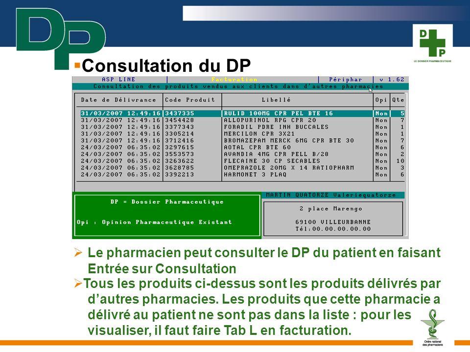 Le pharmacien peut consulter le DP du patient en faisant Entrée sur Consultation Tous les produits ci-dessus sont les produits délivrés par dautres ph