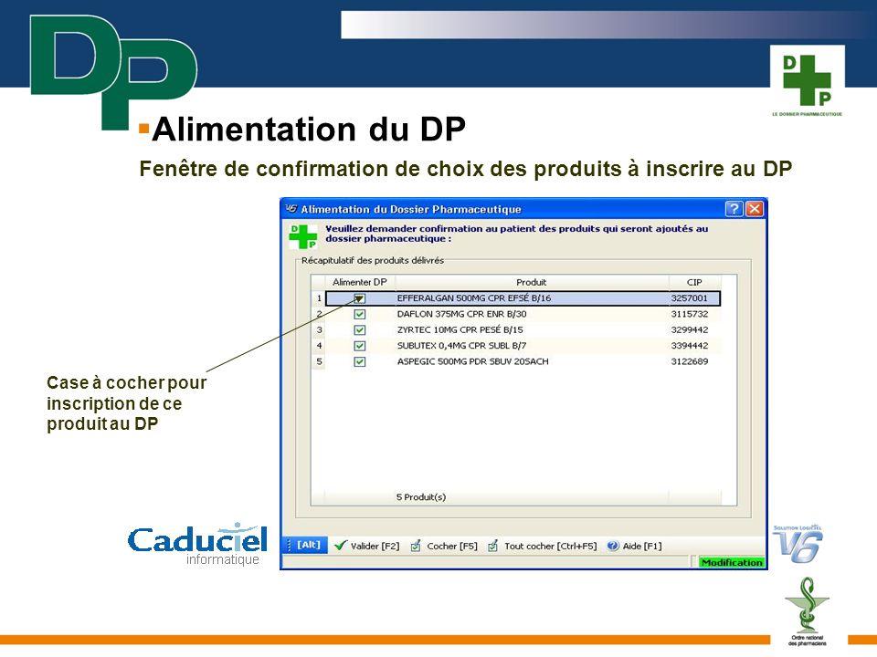 Alimentation du DP Fenêtre de confirmation de choix des produits à inscrire au DP Case à cocher pour inscription de ce produit au DP
