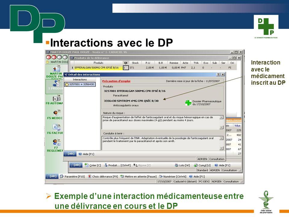 Exemple dune interaction médicamenteuse entre une délivrance en cours et le DP Interaction avec le médicament inscrit au DP Interactions avec le DP