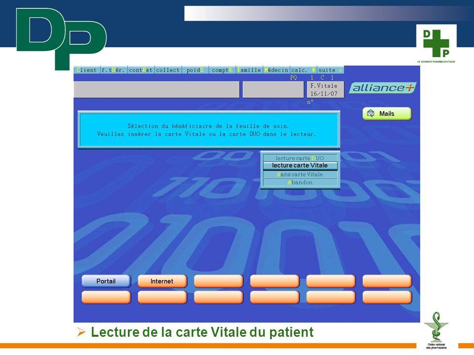 Lecture de la carte Vitale du patient