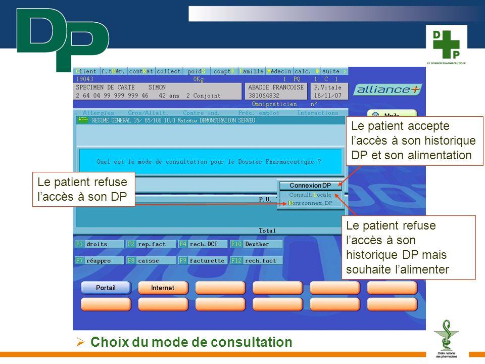 Choix du mode de consultation Le patient accepte laccès à son historique DP et son alimentation Le patient refuse laccès à son historique DP mais souh