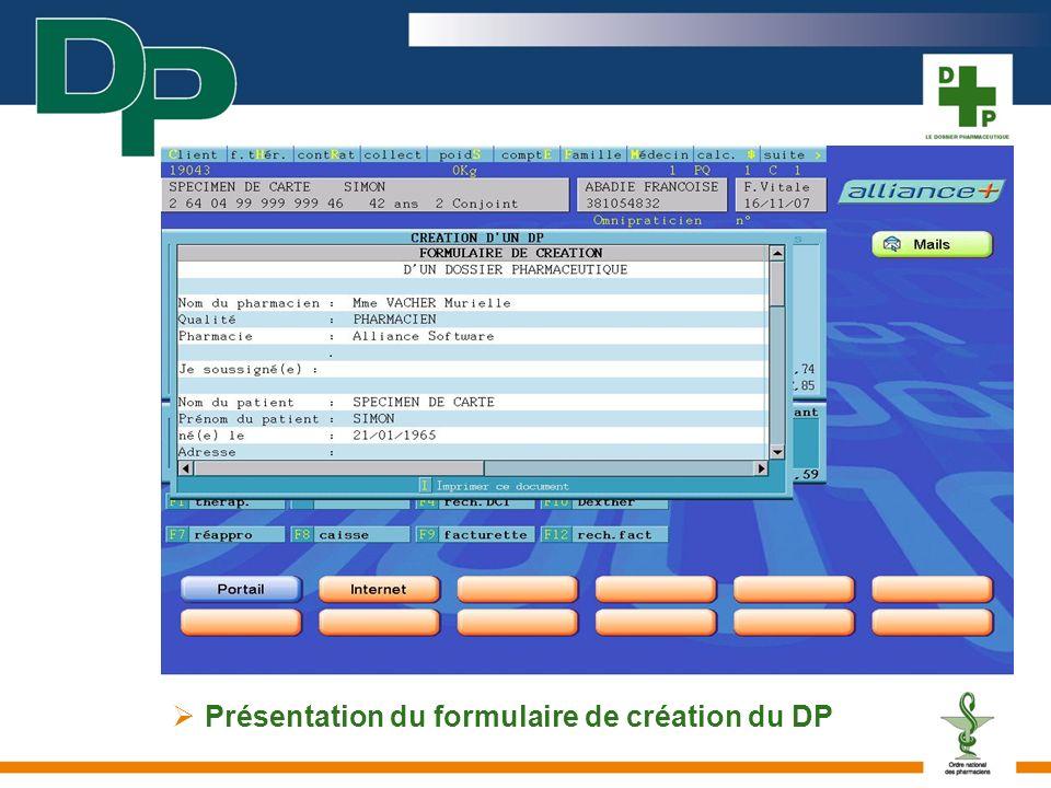 Présentation du formulaire de création du DP