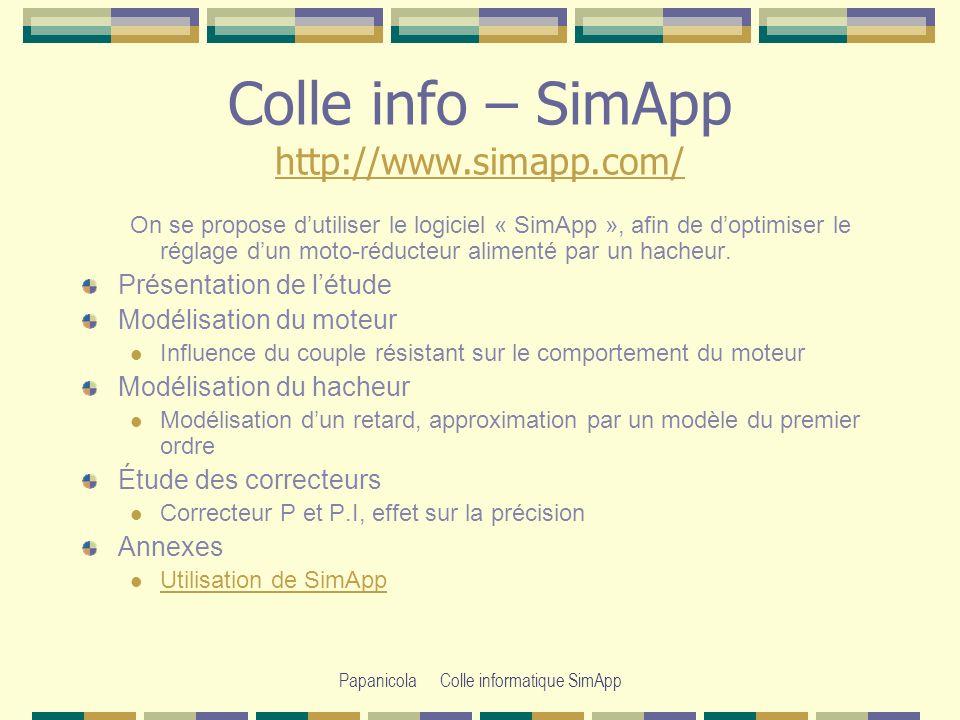 Papanicola Colle informatique SimApp Colle info – SimApp http://www.simapp.com/ http://www.simapp.com/ On se propose dutiliser le logiciel « SimApp », afin de doptimiser le réglage dun moto-réducteur alimenté par un hacheur.