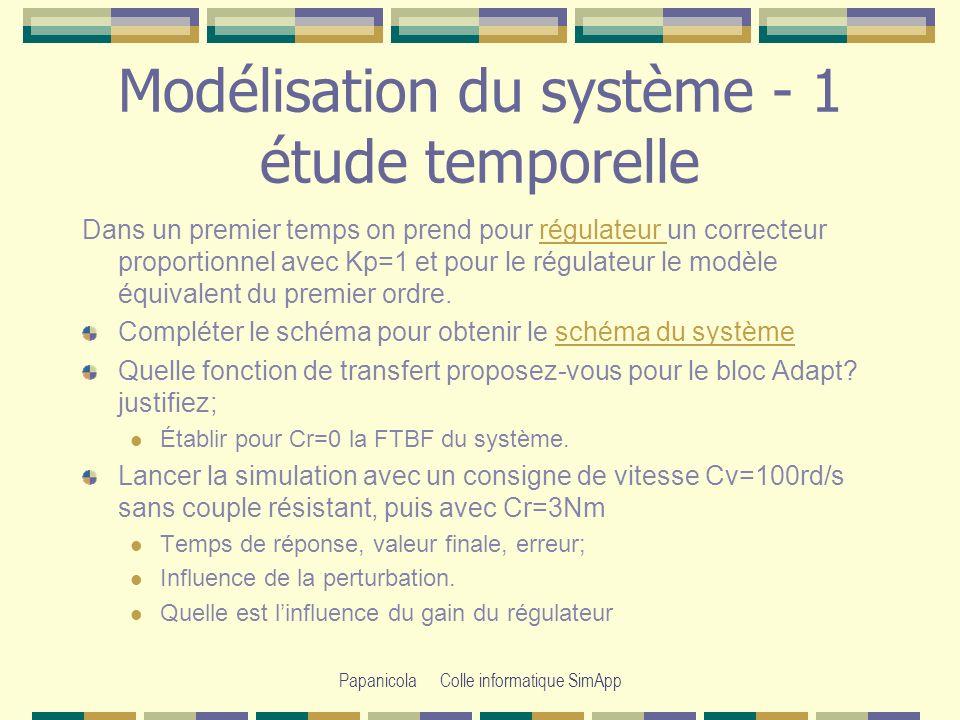 Papanicola Colle informatique SimApp Modélisation du système- 1 étude fréquentielle On se propose de déterminer la valeur maximale de Kp, nous allons la déterminer à partir de létude fréquentielle.