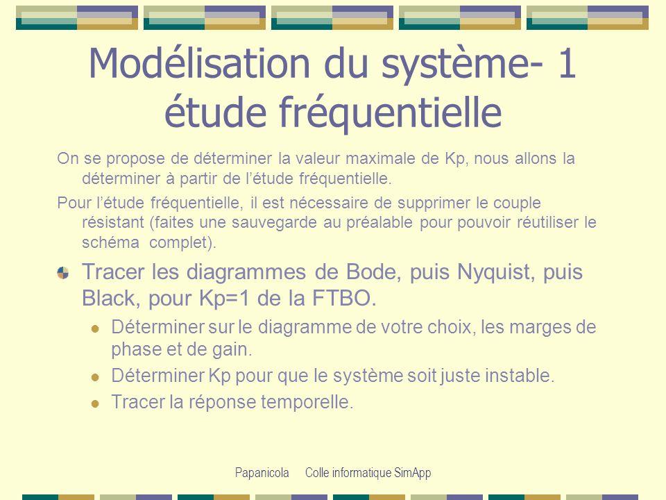 Papanicola Colle informatique SimApp Modélisation du système - 2 étude temporelle On choisit maintenant pour régulateur un correcteur intégral pur avec Ti=1 et pour le régulateur toujours le modèle équivalent du premier ordre.régulateur Reprendre le modèle complet du moteur.