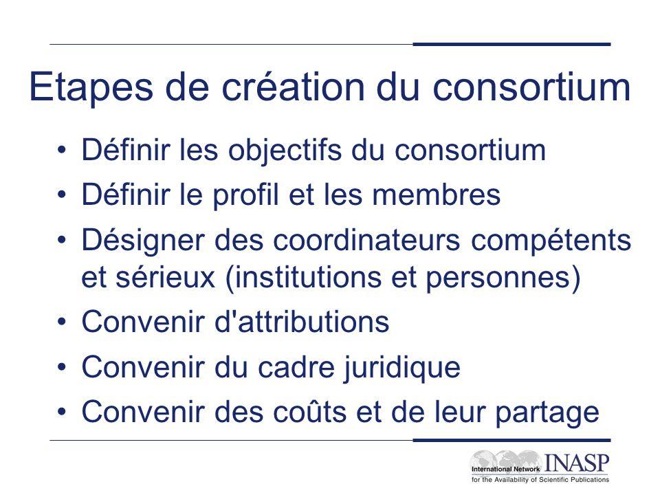 Etapes de création du consortium Définir les objectifs du consortium Définir le profil et les membres Désigner des coordinateurs compétents et sérieux (institutions et personnes) Convenir d attributions Convenir du cadre juridique Convenir des coûts et de leur partage