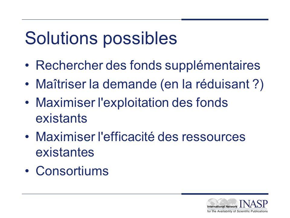 Solutions possibles Rechercher des fonds supplémentaires Maîtriser la demande (en la réduisant ) Maximiser l exploitation des fonds existants Maximiser l efficacité des ressources existantes Consortiums