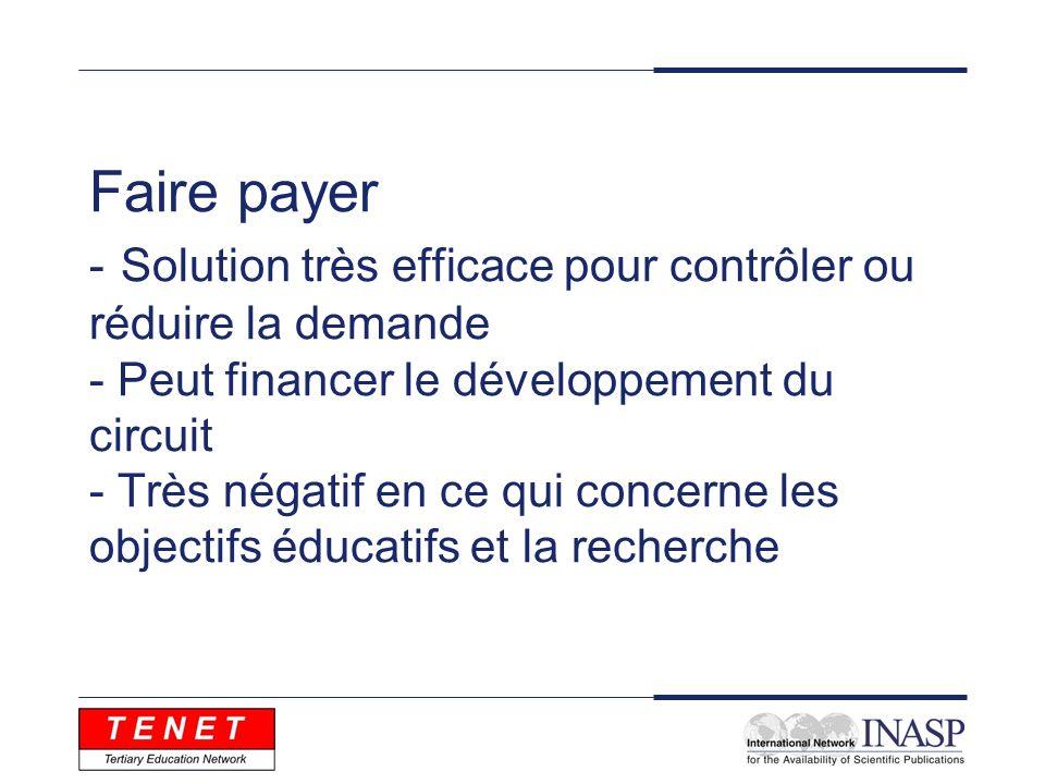 Faire payer - Solution très efficace pour contrôler ou réduire la demande - Peut financer le développement du circuit - Très négatif en ce qui concern