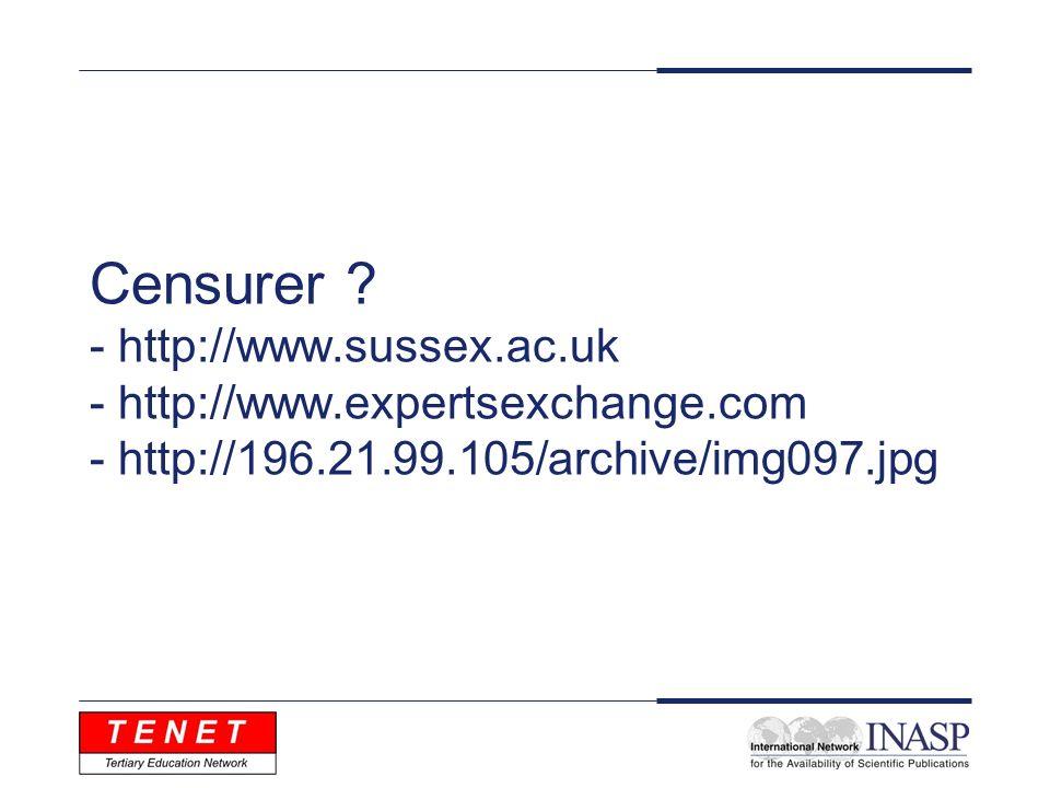 Censurer ? - http://www.sussex.ac.uk - http://www.expertsexchange.com - http://196.21.99.105/archive/img097.jpg