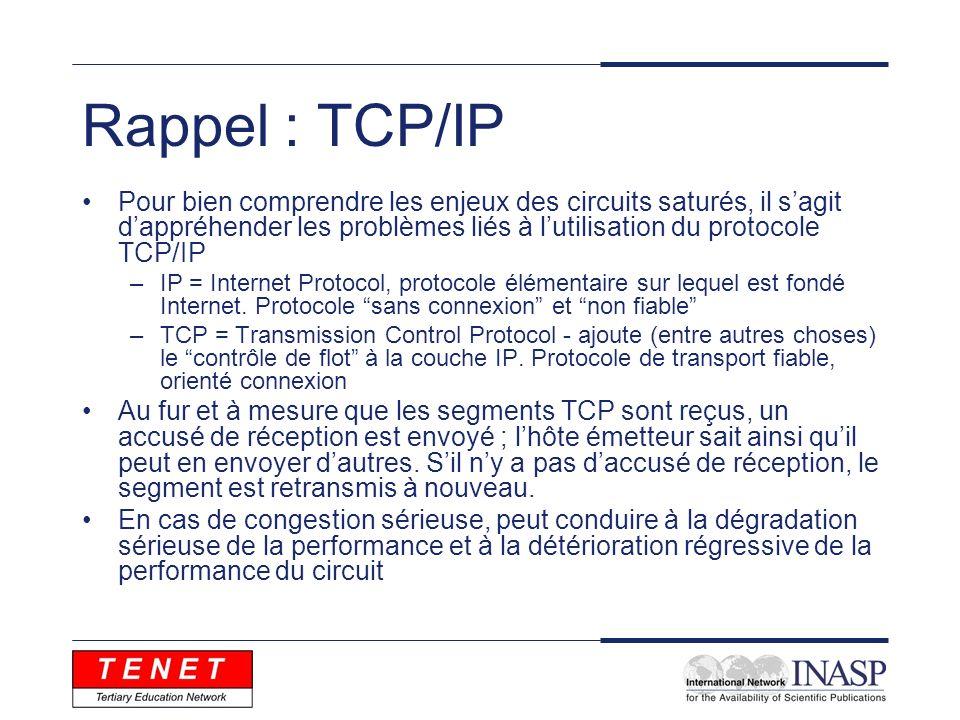 Rappel : TCP/IP Pour bien comprendre les enjeux des circuits saturés, il sagit dappréhender les problèmes liés à lutilisation du protocole TCP/IP –IP