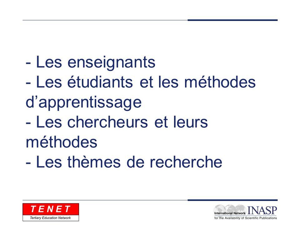 - Les enseignants - Les étudiants et les méthodes dapprentissage - Les chercheurs et leurs méthodes - Les thèmes de recherche