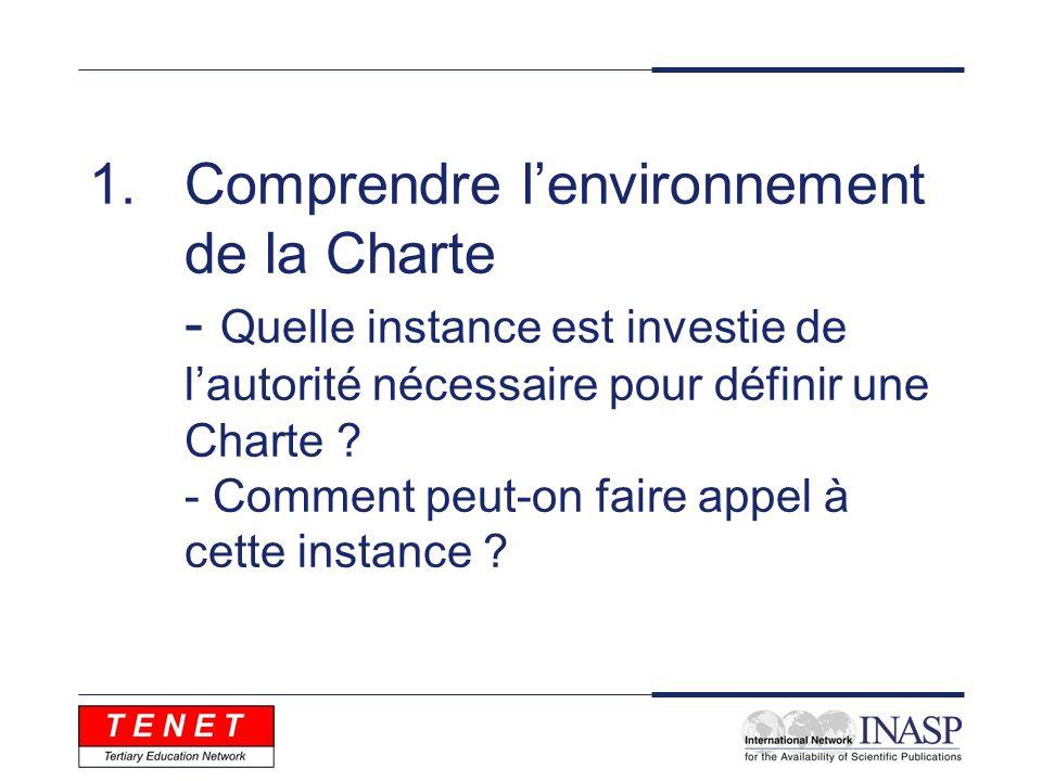 1.Comprendre lenvironnement de la Charte - Quelle instance est investie de lautorité nécessaire pour définir une Charte .