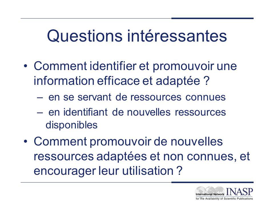 Questions intéressantes Comment identifier et promouvoir une information efficace et adaptée ? – en se servant de ressources connues – en identifiant
