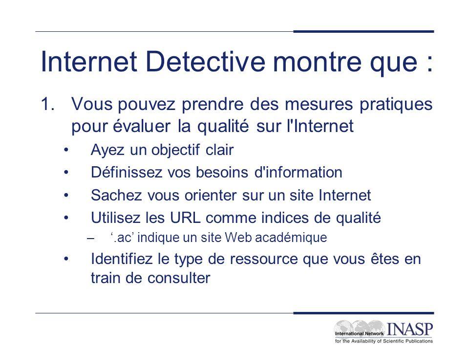Internet Detective montre que : 1.Vous pouvez prendre des mesures pratiques pour évaluer la qualité sur l'Internet Ayez un objectif clair Définissez v