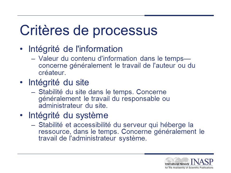 Critères de processus Intégrité de l information –Valeur du contenu d information dans le temps concerne généralement le travail de l auteur ou du créateur.