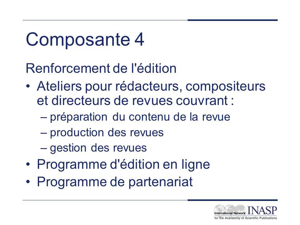 Composante 4 Renforcement de l'édition Ateliers pour rédacteurs, compositeurs et directeurs de revues couvrant : –préparation du contenu de la revue –