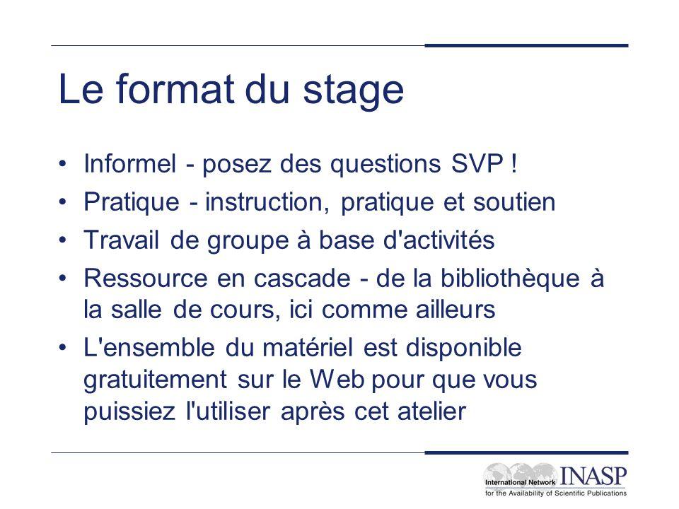 Le format du stage Informel - posez des questions SVP ! Pratique - instruction, pratique et soutien Travail de groupe à base d'activités Ressource en