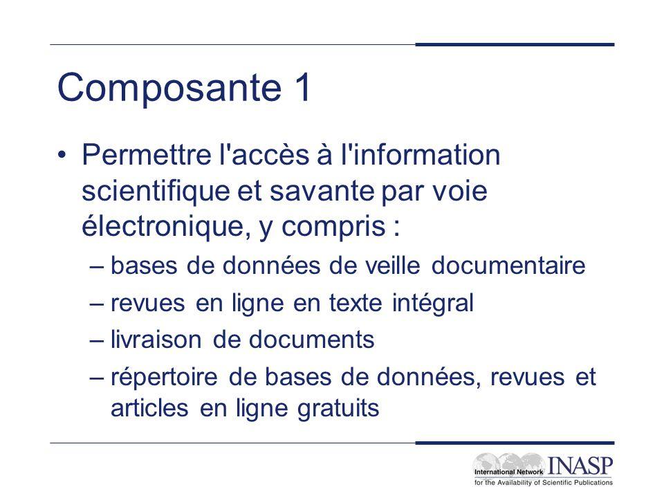 Composante 1 Permettre l'accès à l'information scientifique et savante par voie électronique, y compris : –bases de données de veille documentaire –re
