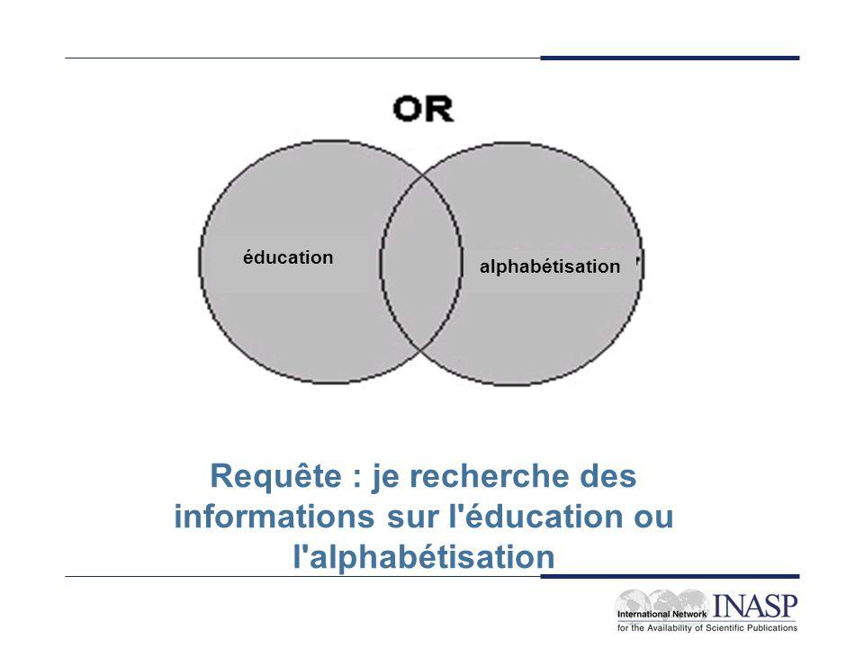 éducation alphabétisation Requête : je recherche des informations sur l'éducation ou l'alphabétisation
