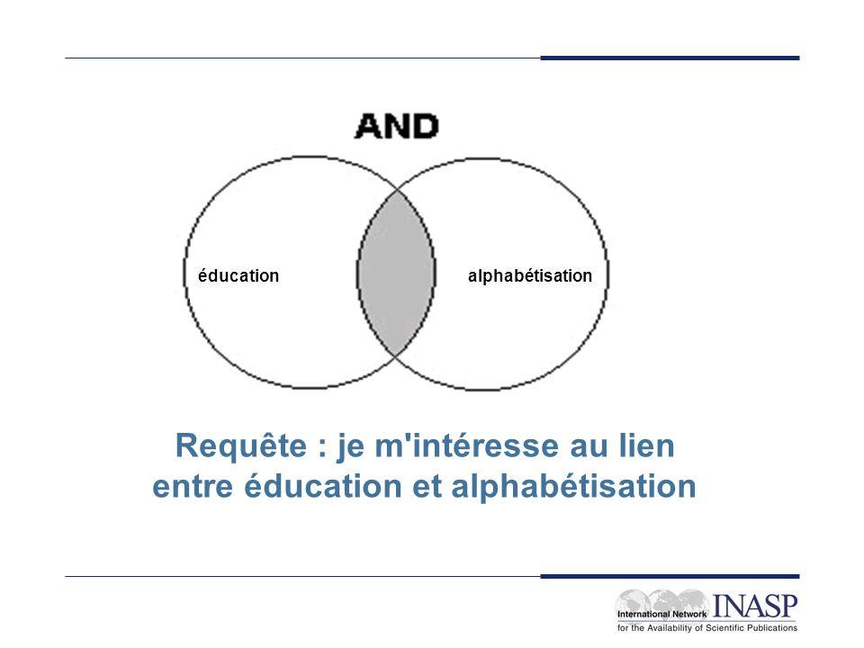 éducationalphabétisation Requête : je m'intéresse au lien entre éducation et alphabétisation