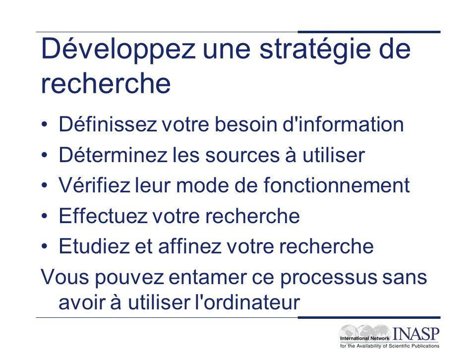 Développez une stratégie de recherche Définissez votre besoin d'information Déterminez les sources à utiliser Vérifiez leur mode de fonctionnement Eff