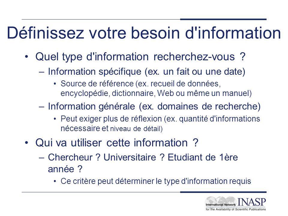 Définissez votre besoin d'information Quel type d'information recherchez-vous ? –Information spécifique (ex. un fait ou une date) Source de référence