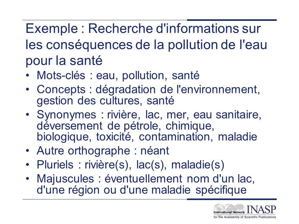 Exemple : Recherche d'informations sur les conséquences de la pollution de l'eau pour la santé Mots-clés : eau, pollution, santé Concepts : dégradatio