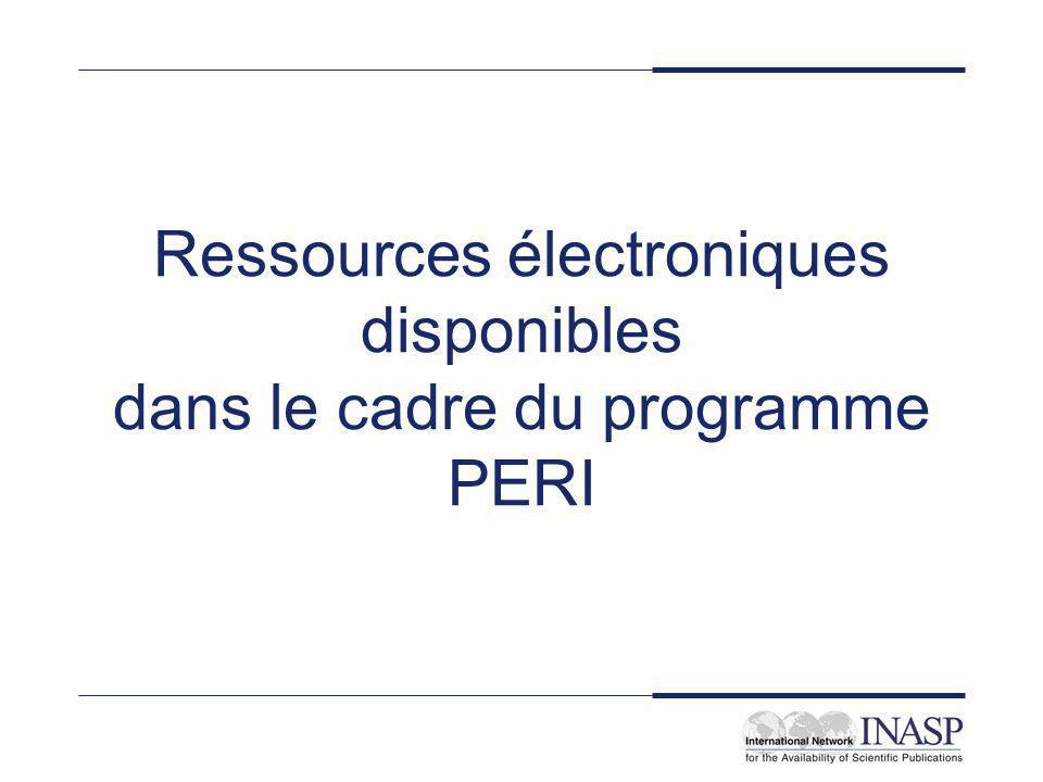 Objectifs Donner une vue générale du programme PERI Mieux faire connaître certaines ressources PERI Acquérir une expérience susceptible de faciliter les acquisitions futures et l utilisation des ressources