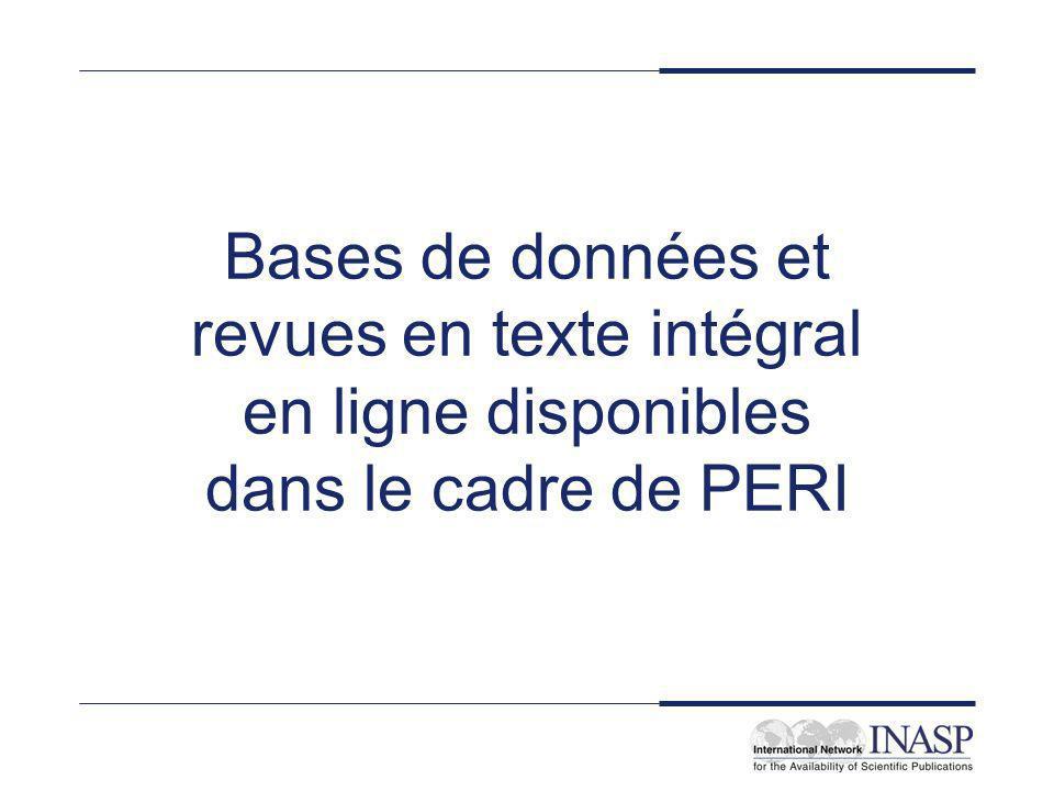 Bases de données et revues en texte intégral en ligne disponibles dans le cadre de PERI