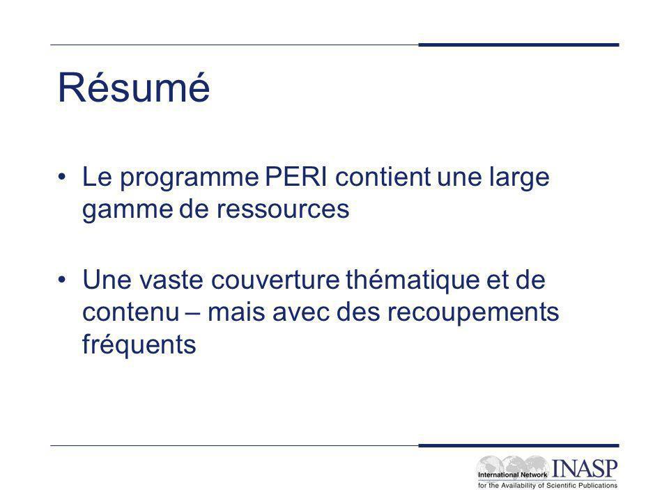 Résumé Le programme PERI contient une large gamme de ressources Une vaste couverture thématique et de contenu – mais avec des recoupements fréquents