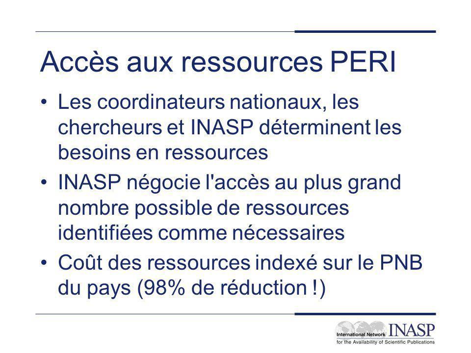 Accès aux ressources PERI Les coordinateurs nationaux, les chercheurs et INASP déterminent les besoins en ressources INASP négocie l accès au plus grand nombre possible de ressources identifiées comme nécessaires Coût des ressources indexé sur le PNB du pays (98% de réduction !)