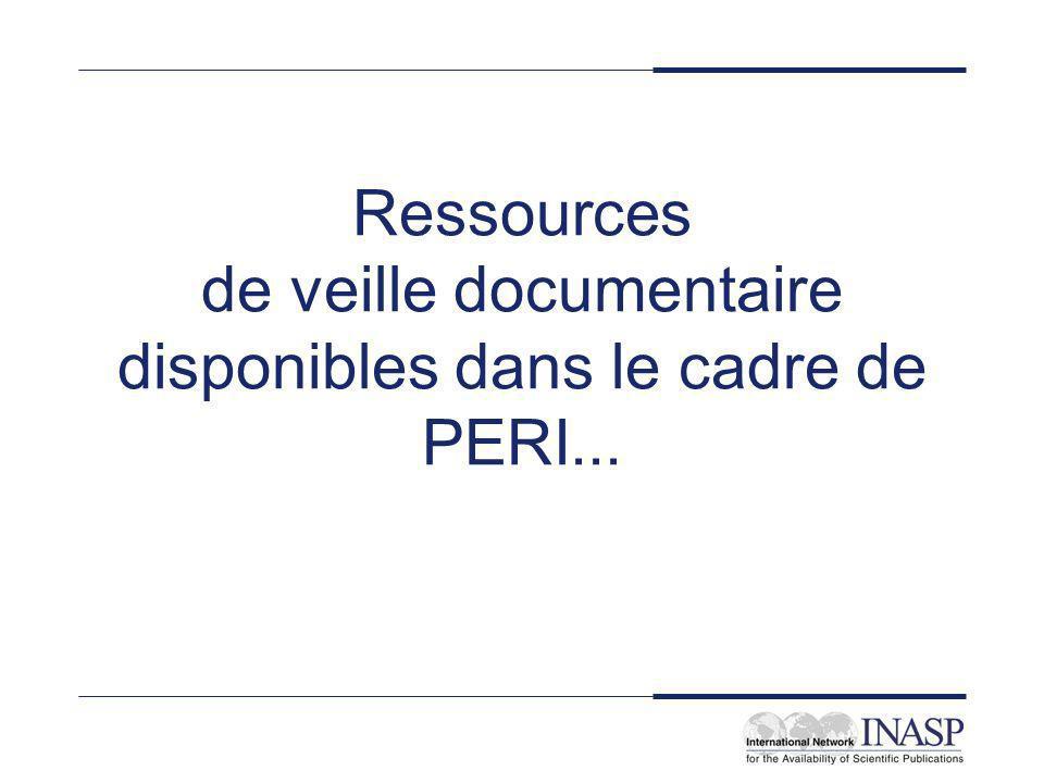 Ressources de veille documentaire disponibles dans le cadre de PERI...