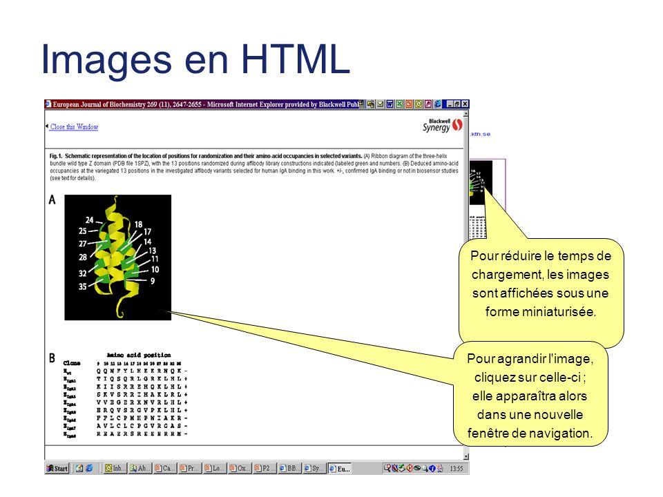 Images en HTML Pour réduire le temps de chargement, les images sont affichées sous une forme miniaturisée.