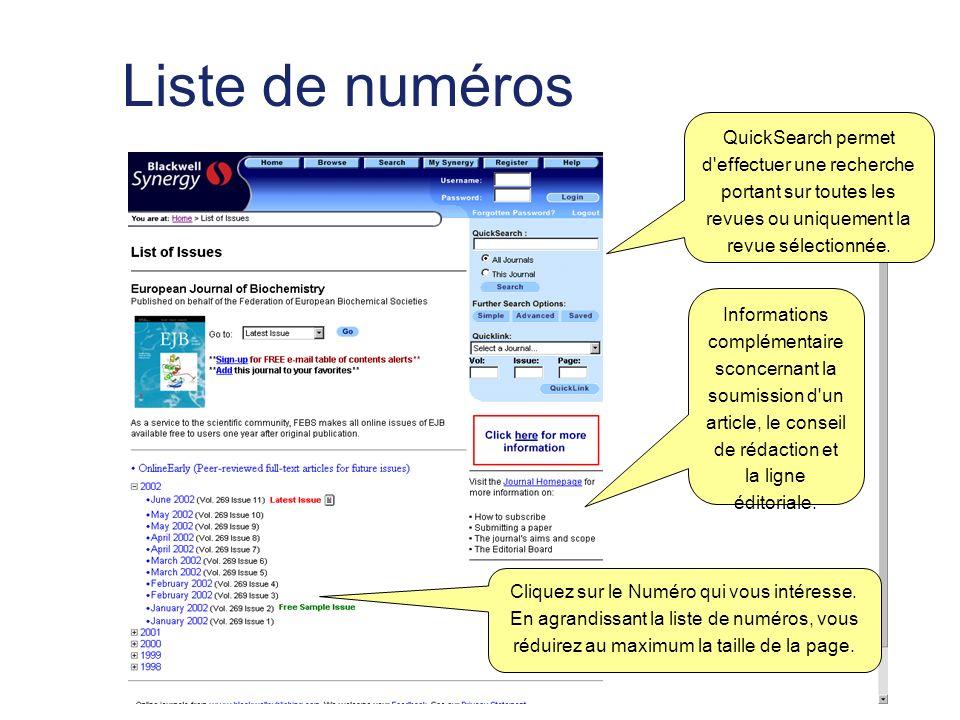 Liste de numéros QuickSearch permet d effectuer une recherche portant sur toutes les revues ou uniquement la revue sélectionnée.
