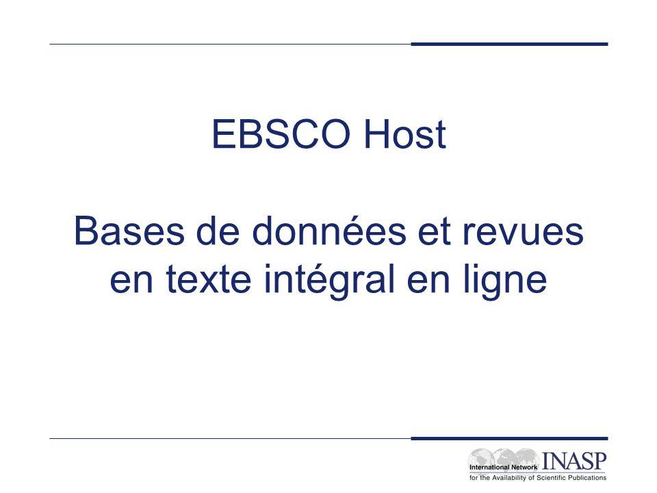 EBSCO Host Bases de données et revues en texte intégral en ligne