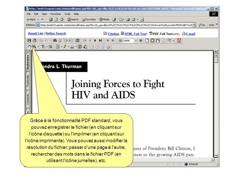 Grâce à la fonctionnalité PDF standard, vous pouvez enregistrer le fichier (en cliquant sur l'icône disquette) ou l'imprimer (en cliquant sur l'icône