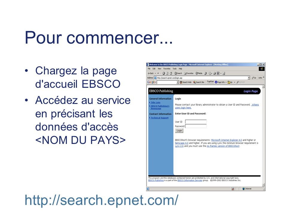 Pour commencer... Chargez la page d'accueil EBSCO Accédez au service en précisant les données d'accès http://search.epnet.com/
