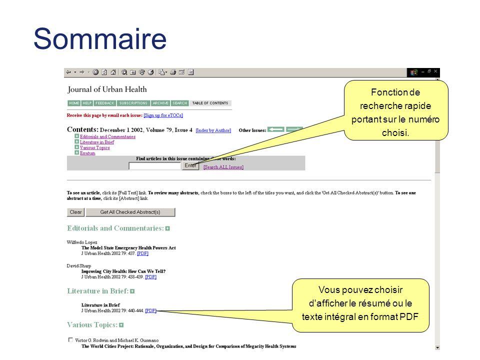 Sommaire Vous pouvez choisir d afficher le résumé ou le texte intégral en format PDF Fonction de recherche rapide portant sur le numéro choisi.