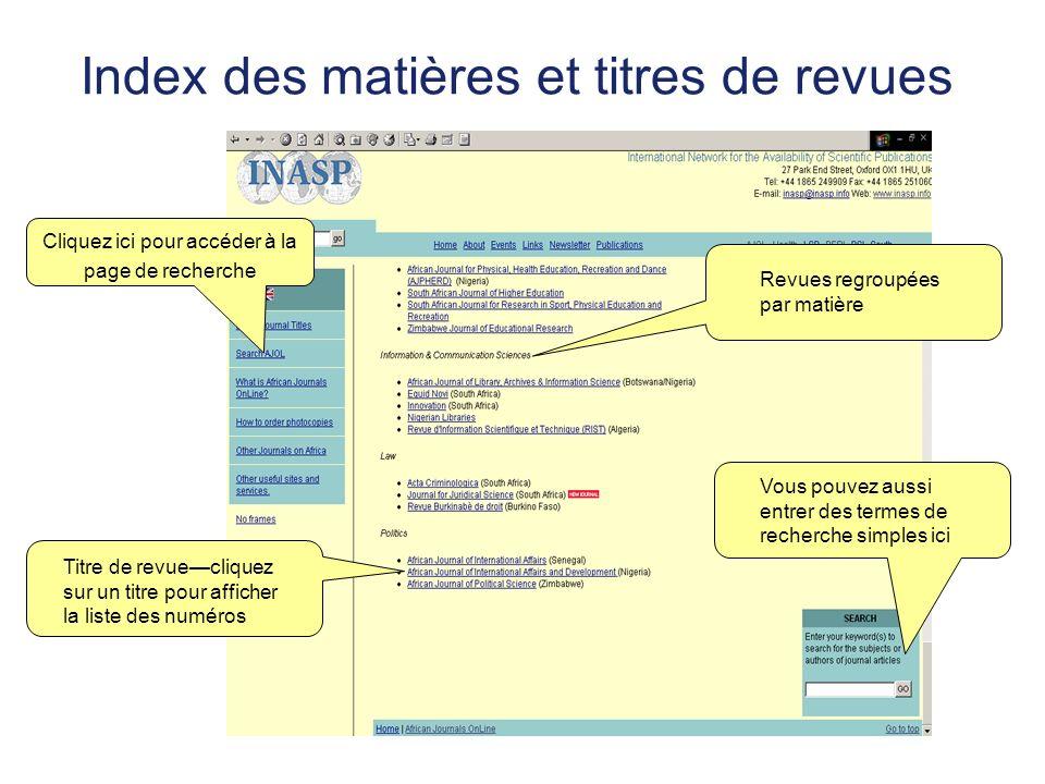 Index des matières et titres de revues Vous pouvez aussi entrer des termes de recherche simples ici Revues regroupées par matière Titre de revueclique