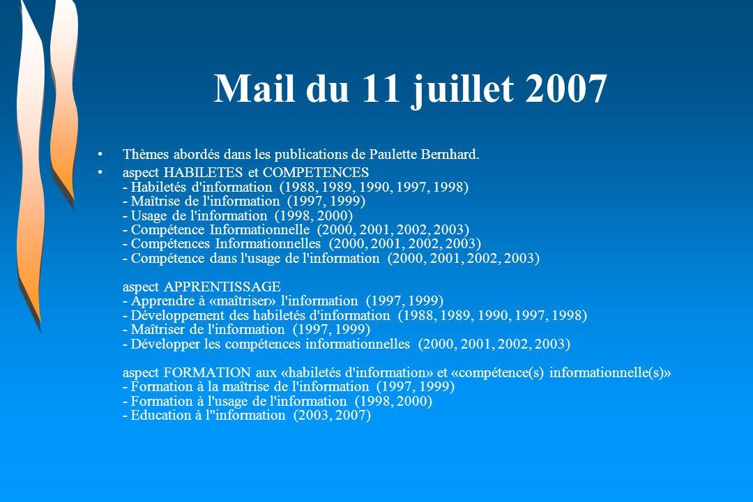 Mail du 11 juillet 2007 Thèmes abordés dans les publications de Paulette Bernhard. aspect HABILETES et COMPETENCES - Habiletés d'information (1988, 19