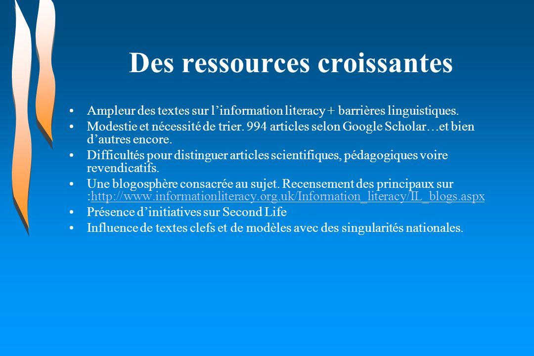 Des ressources croissantes Ampleur des textes sur linformation literacy + barrières linguistiques. Modestie et nécessité de trier. 994 articles selon