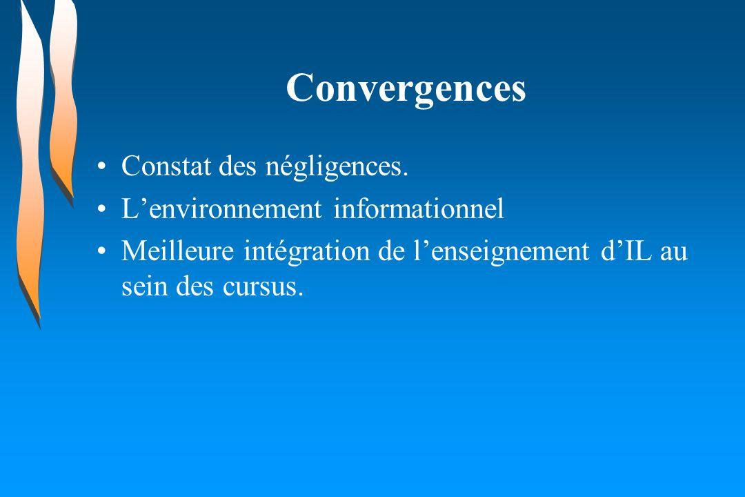 Convergences Constat des négligences. Lenvironnement informationnel Meilleure intégration de lenseignement dIL au sein des cursus.
