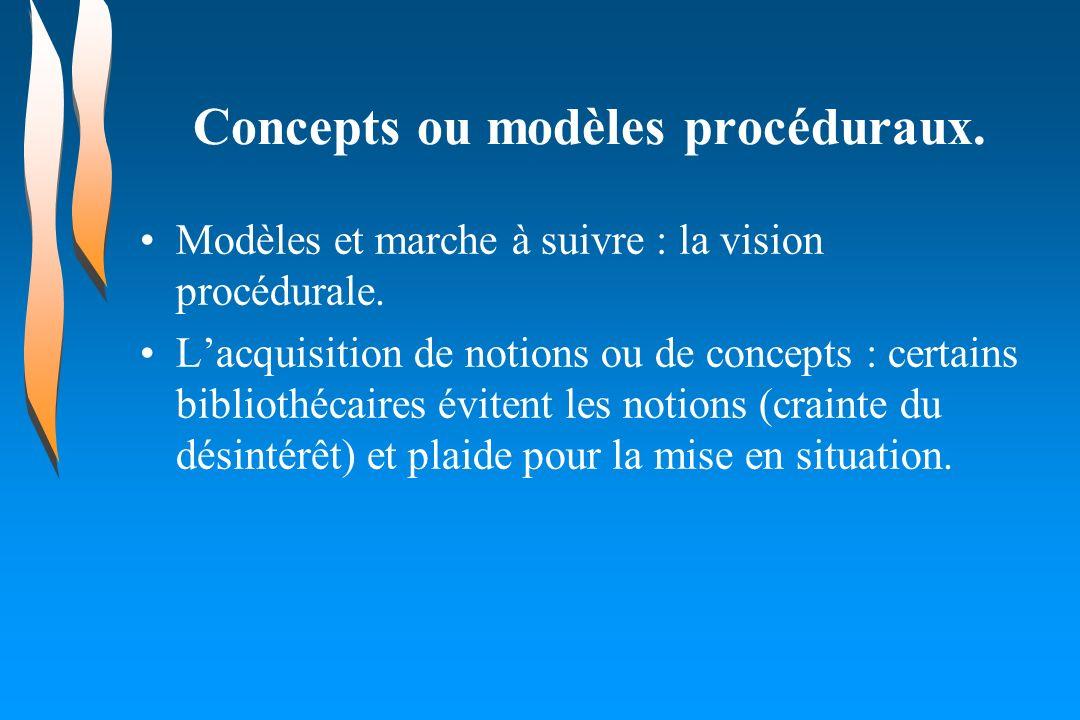 Concepts ou modèles procéduraux. Modèles et marche à suivre : la vision procédurale. Lacquisition de notions ou de concepts : certains bibliothécaires