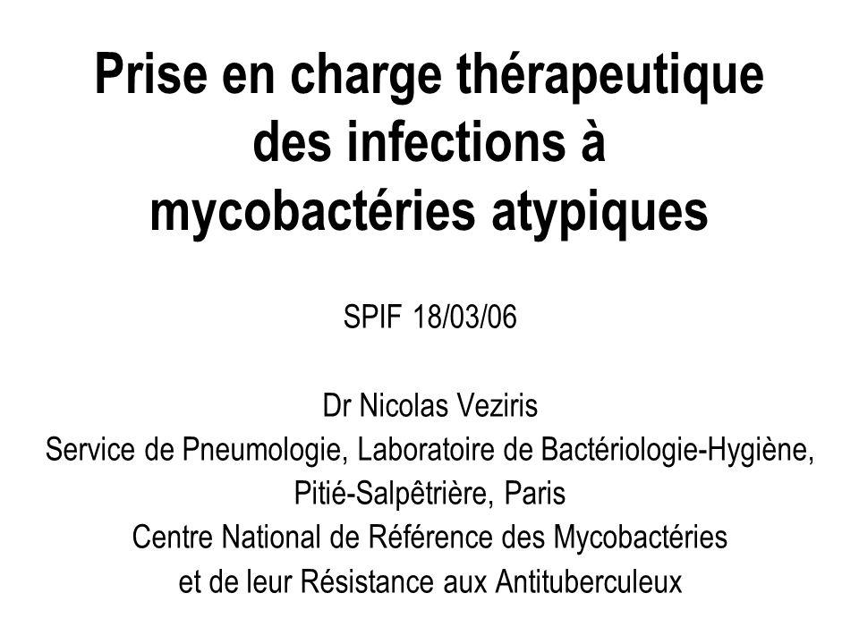 Prise en charge thérapeutique des infections à mycobactéries atypiques SPIF 18/03/06 Dr Nicolas Veziris Service de Pneumologie, Laboratoire de Bactéri