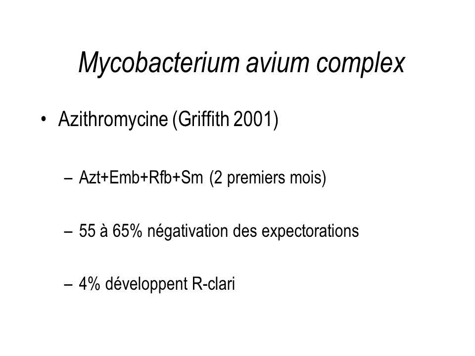 Mycobacterium avium complex Azithromycine (Griffith 2001) –Azt+Emb+Rfb+Sm (2 premiers mois) –55 à 65% négativation des expectorations –4% développent