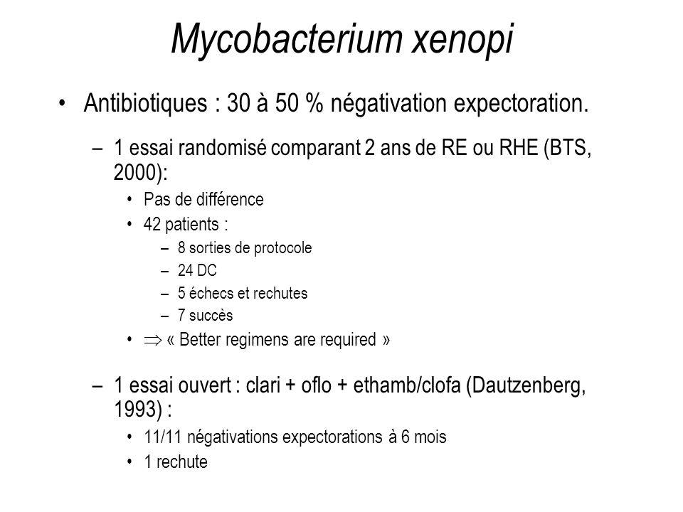 Mycobacterium xenopi Antibiotiques : 30 à 50 % négativation expectoration. –1 essai randomisé comparant 2 ans de RE ou RHE (BTS, 2000): Pas de différe