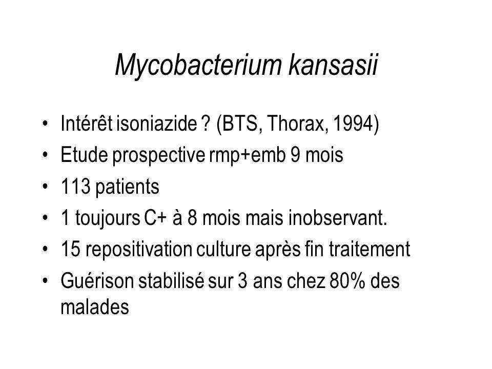 Mycobacterium kansasii Intérêt isoniazide ? (BTS, Thorax, 1994) Etude prospective rmp+emb 9 mois 113 patients 1 toujours C+ à 8 mois mais inobservant.