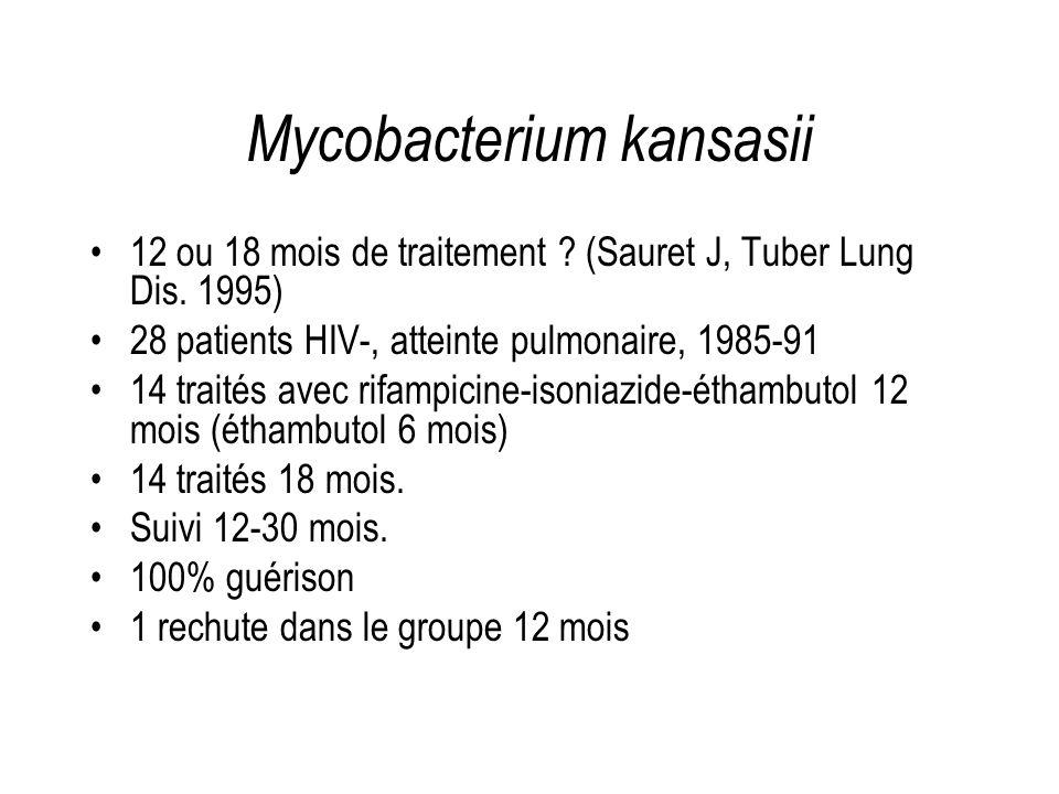 Mycobacterium kansasii 12 ou 18 mois de traitement ? (Sauret J, Tuber Lung Dis. 1995) 28 patients HIV-, atteinte pulmonaire, 1985-91 14 traités avec r